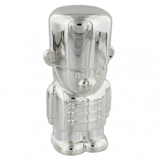 Silver Plated Soldier Bear Money Box