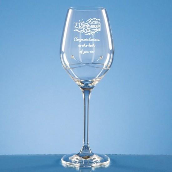 Engraved Swarovski crystal wine glass